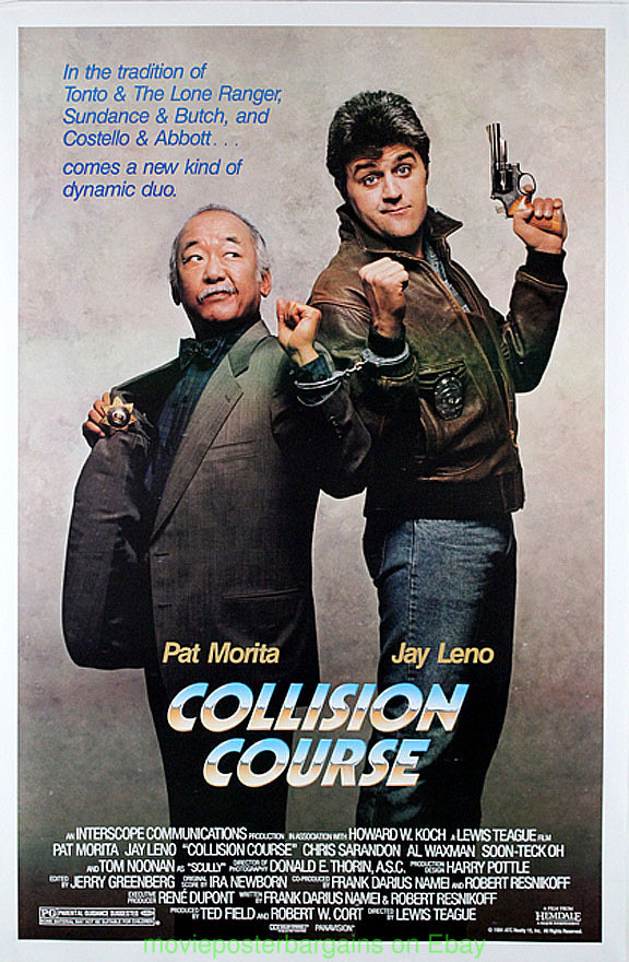 A poster of the peculiar Pat Morita and Jay Leno film, Collision Course