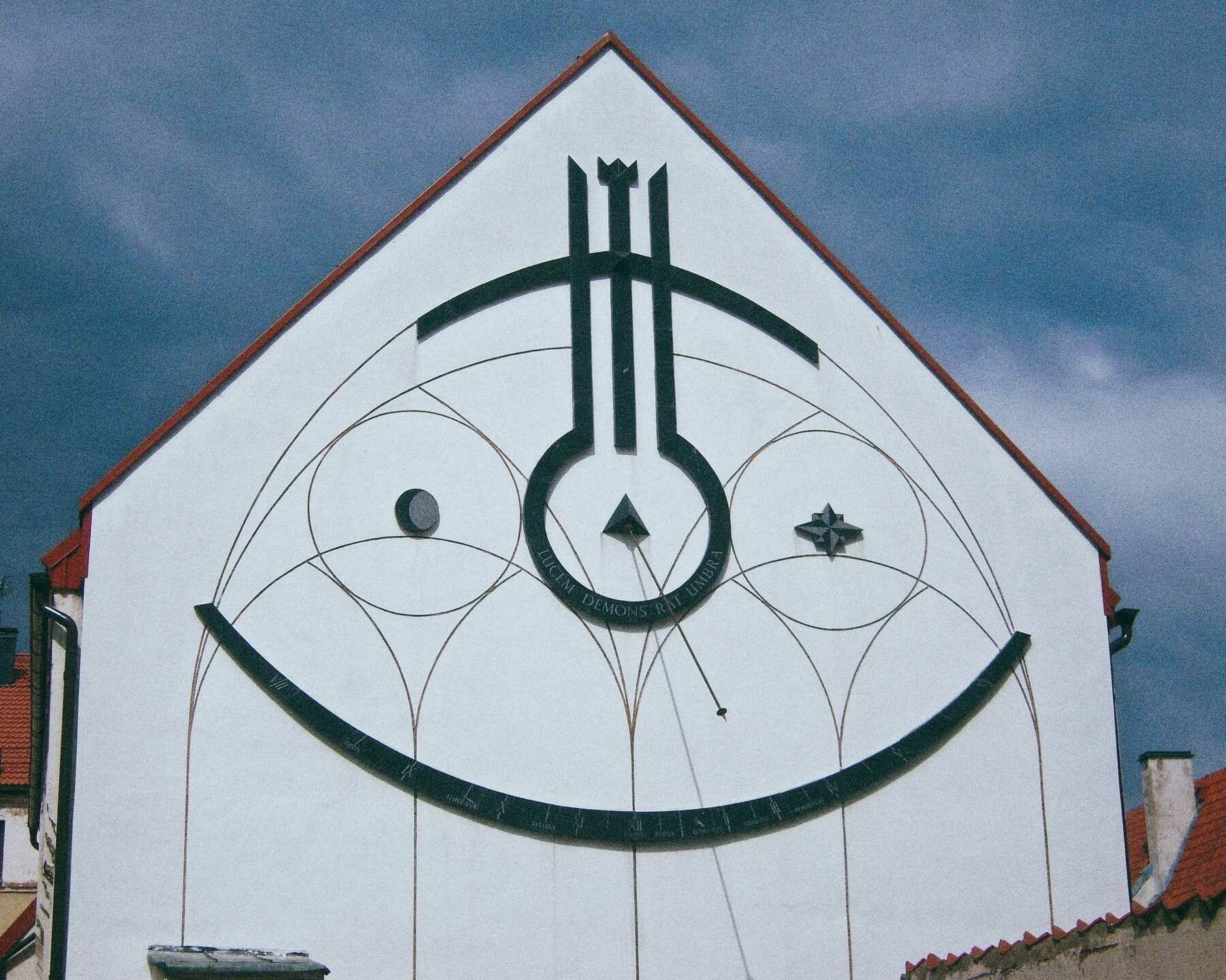 A large clock shaped to look like a face in Kaunus, Lithuania.