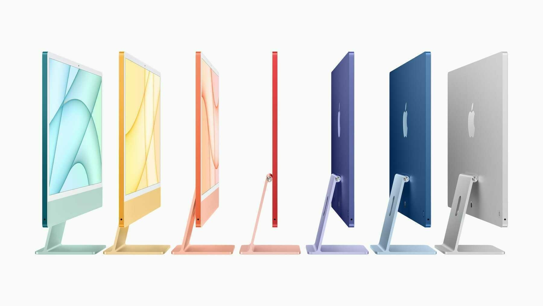 The new iMac in seven snazzy colors.