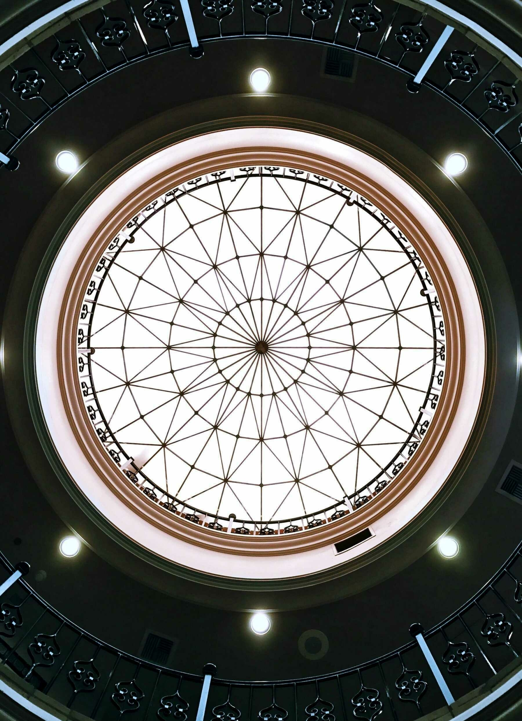 A picture of an ornate skylight at the Santa Ana train station.