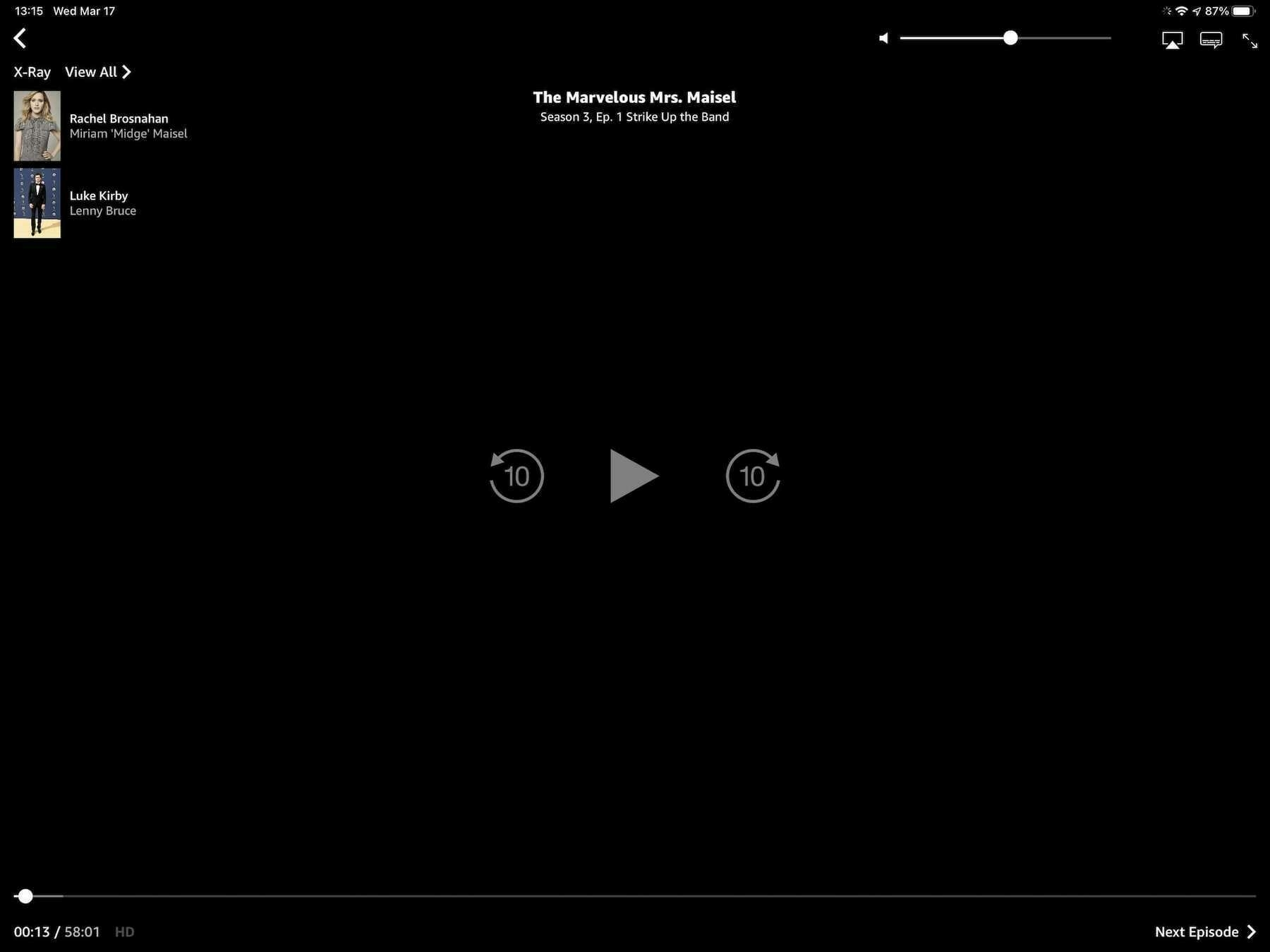 The Prime Video player interface.