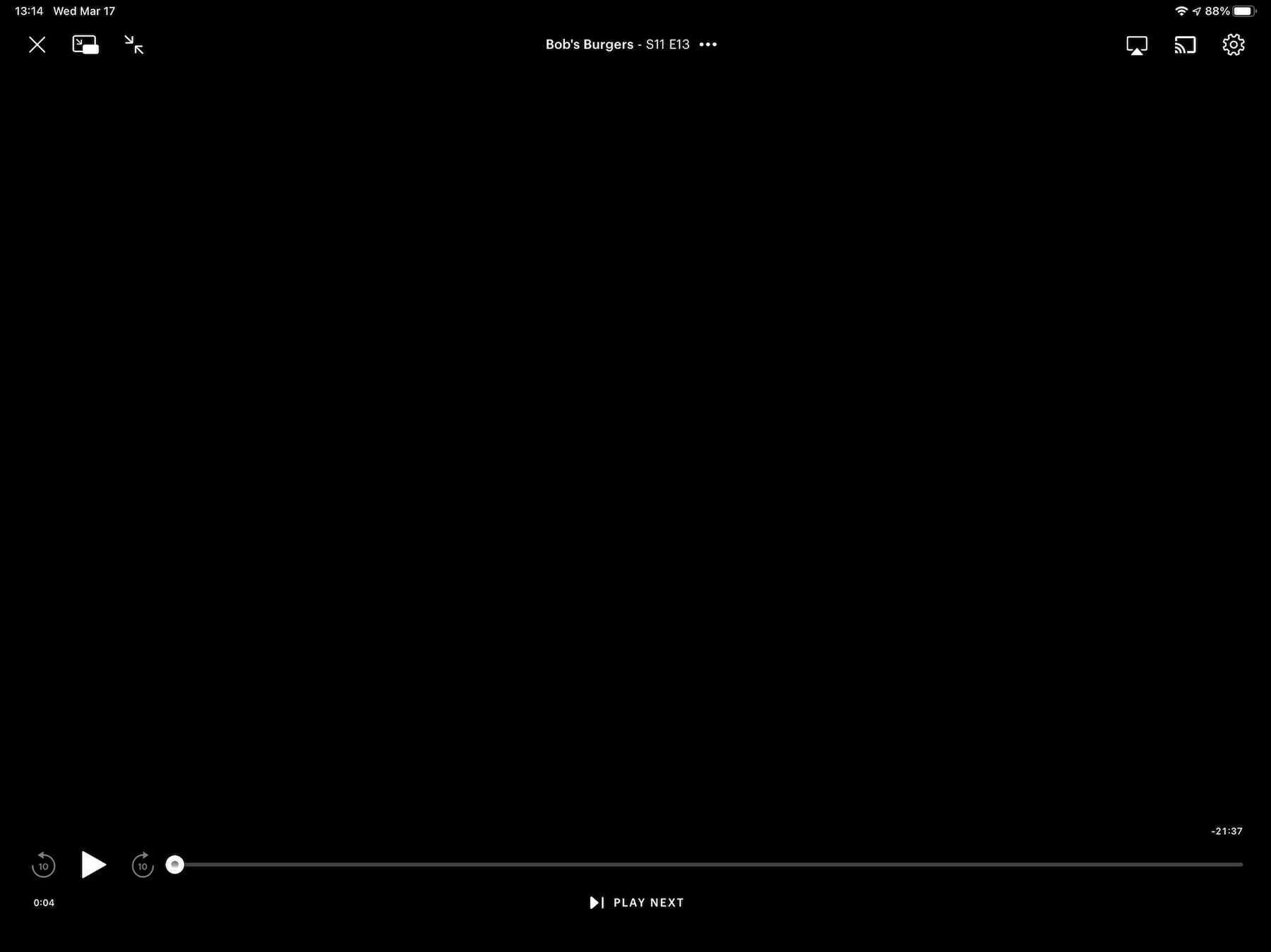 The Hulu player interface.