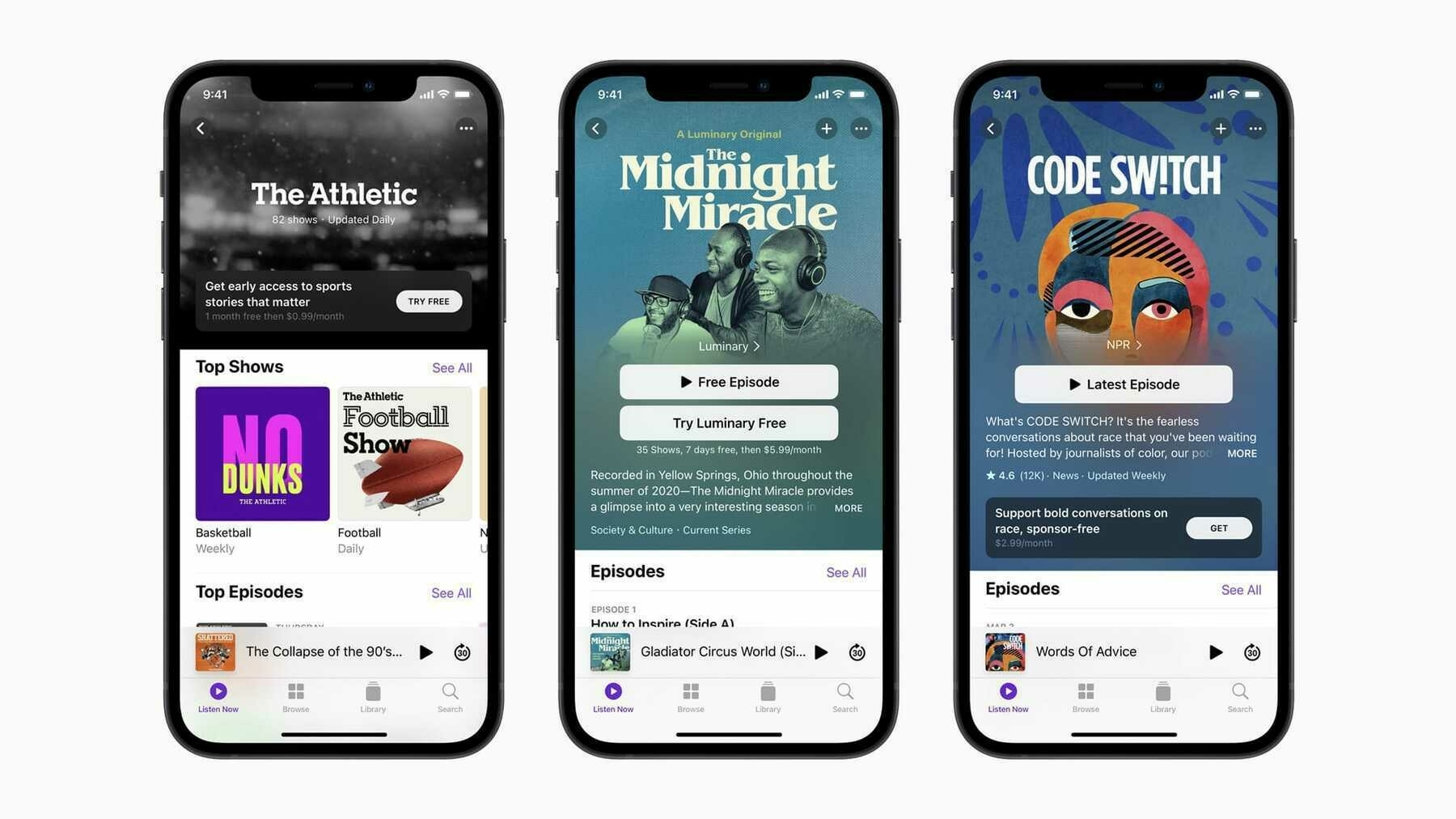 The updated Apple Podcasts app.