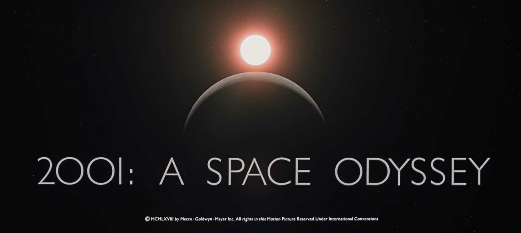 The title card for 2001: A Space Odyssey.
